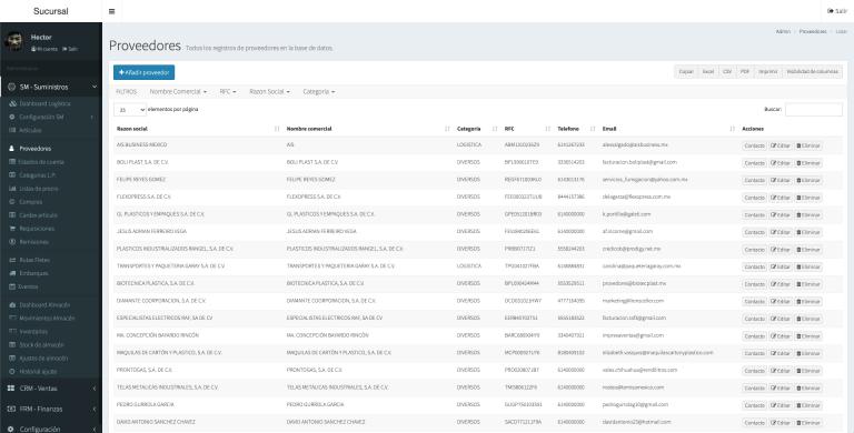 KeyA ERP catalogo de proveedores